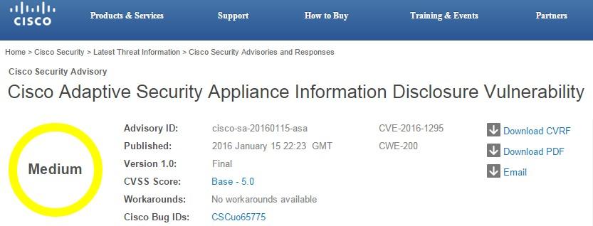 Cisco - ASA security vulnerability